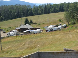 RV's and tents at the Round Lake Hall.